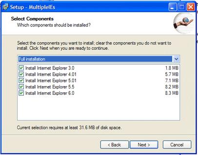 Окно установки нескольких версий IE