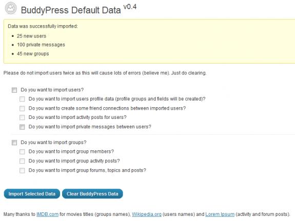 BP Default Data: Admin interface