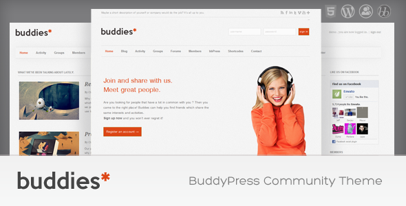 Buddies - WordPress & BuddyPress Community Theme