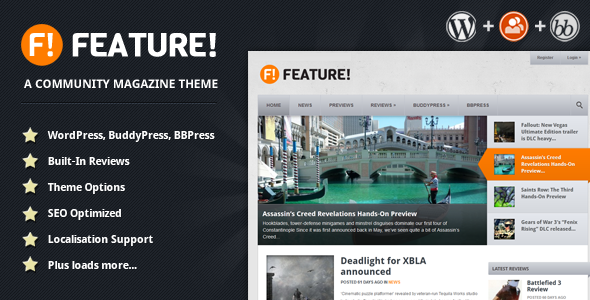 Feature! A Community Magazine Theme