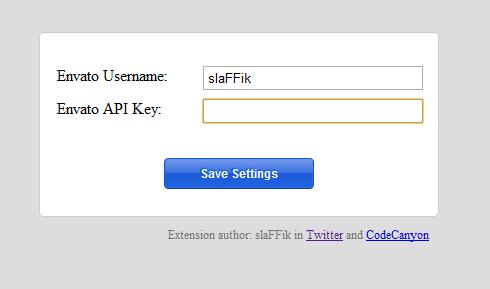 Chrome Extension - Envato Settings
