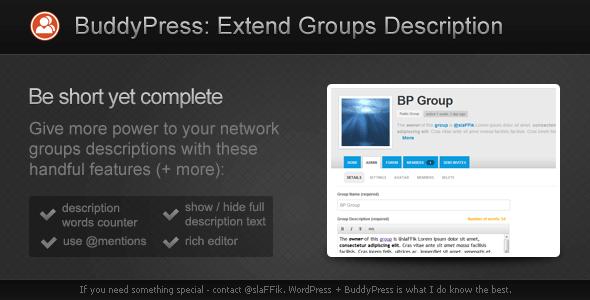 BuddyPress Extend Groups Descriptions