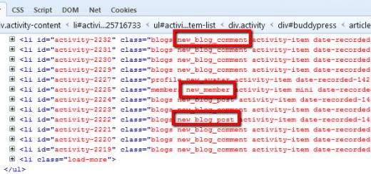 BuddyPress Activity - Block Types