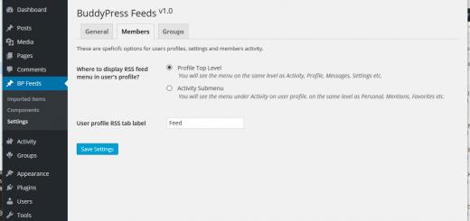 BuddyPress Feeds Admin Settings Members
