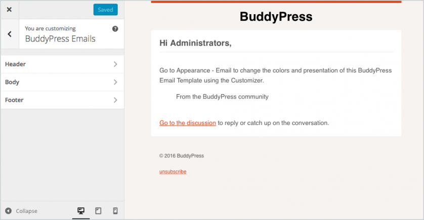 BuddyPress 2.5 - Emails Feature
