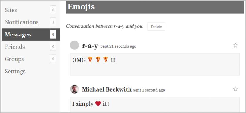 BuddyPress 2.5 - Emoji Feature