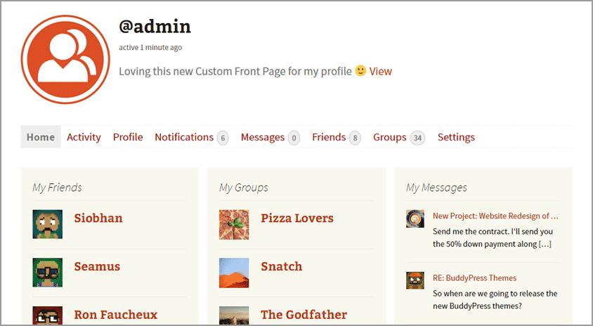 BuddyPress 2.6 - главная страница профиля пользователя