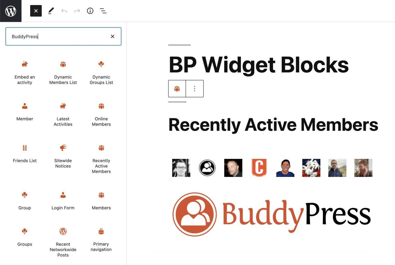 Список новых блоков-виджетов для BuddyPress 9.0